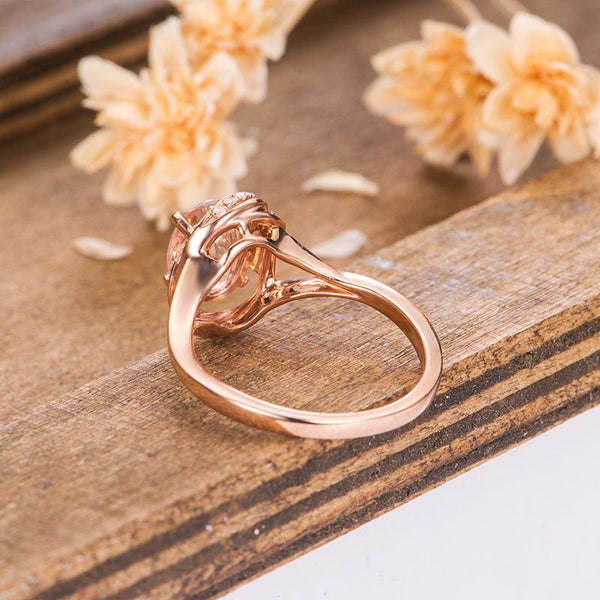 Halo Morganite Engagement Ring 1.5 Carat Oval Cut Diamond Bridal Ring