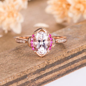 Lab Ruby Accents Oval 1.5 Carat Morganite Engagement Ring Antique Wedding Ring