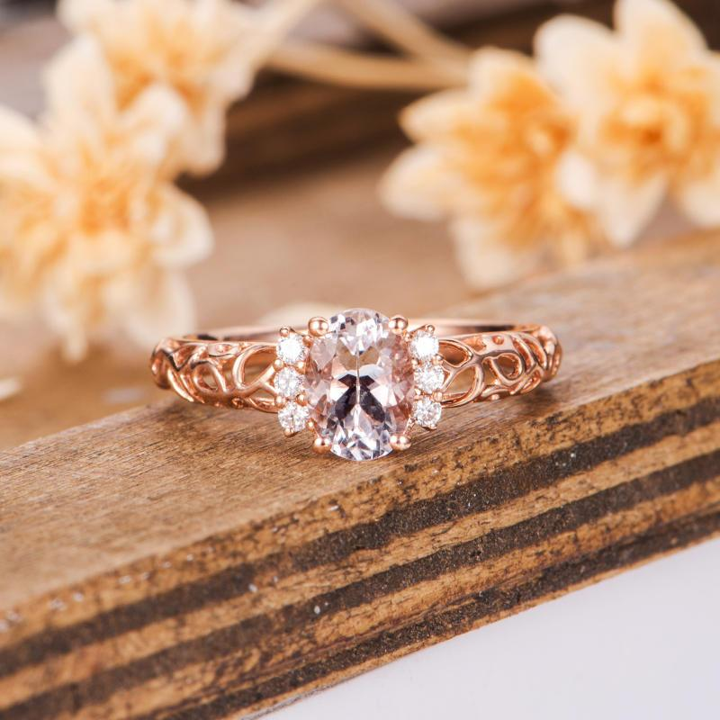 Antique Gemstone Engagement Ring Oval 5x7mm Pink Morganite Pave Accents Ring