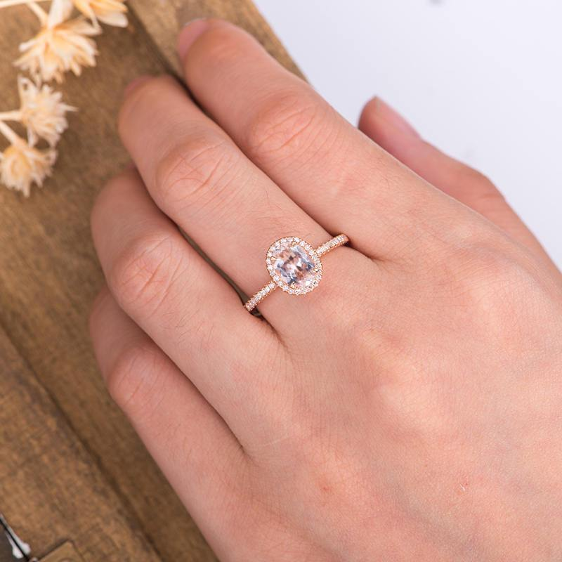 1.5CT Oval Cut Morganite Engagement Ring, Halo Diamond Bridal Sets