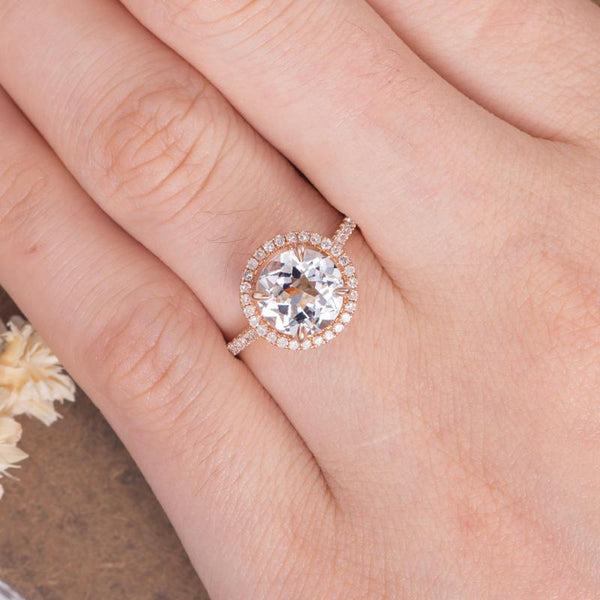 Round 8mm White Topaz Engagement Ring Halo Diamond Wedding Anniversary Ring