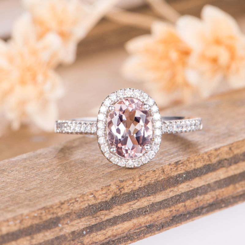 Halo Oval Cut Morganite Engagement Ring Peachy Pink Gemstone Antique Wedding Ring