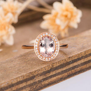 Halo Oval Cut Morganite 1.5ct Engagement Ring Rose Gold Bridal Ring