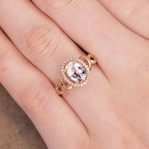 Unique Aritist Morganite Engagement Ring Oval 1.5ct Art Deco Infinity Promise Ring