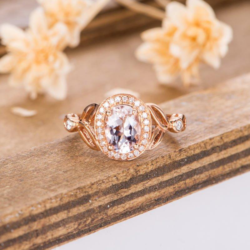Blossom Oval Cut 1.5CT Halo Split Shank Morganite Engagement Ring