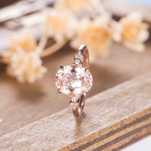 3.0CT Morganite Engagement Ring, Solid Gold Half Eternity Diamond Ring