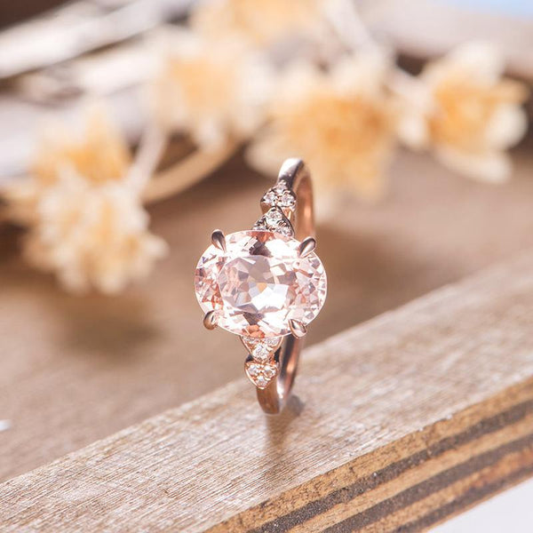 3 Carat Morganite Engagement Ring, Half Eternity Diamond Wedding Ring