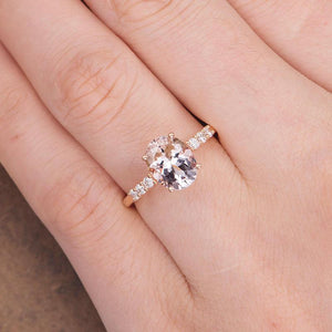 Oval Morganite 7x9mm Engagement Ring Rose Gold Bridal Ring Solitaire Pave Diamond Ring