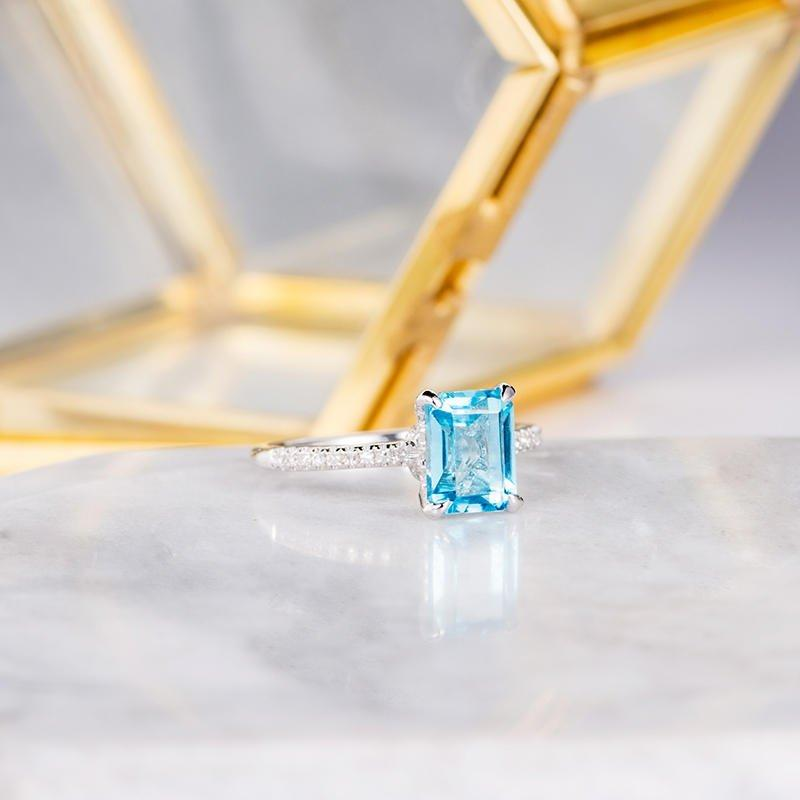 Blue Topaz Solitaire 2CT Emerald Cut Accents Half Eternity Bridal Ring