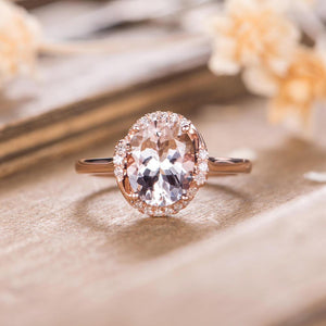 Oval Cut Morganite 3 CT 8x10MM Rose Gold Eternity Diamond Retro Ring For Women