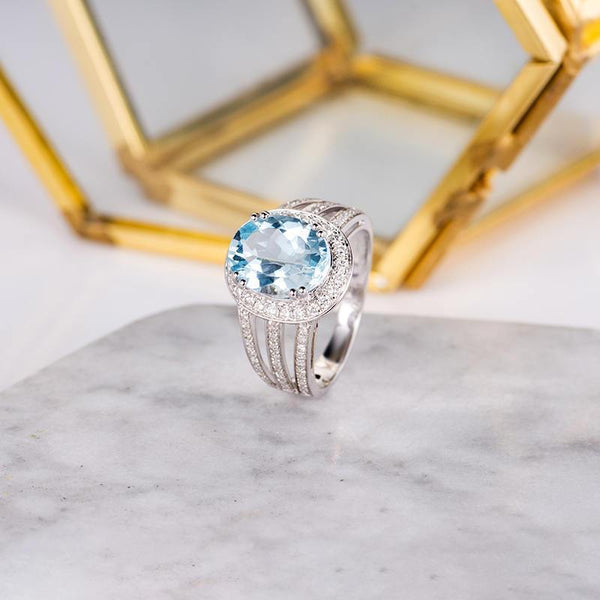 Oval Cut 8x10mm Aquamarine Engagement Ring Halo Diamond Triple Shanks Promise Ring