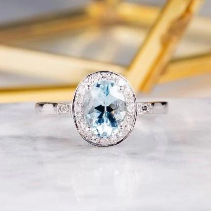 1.5CT Oval Cut Aquamarine Engagement Ring, 14K Gold Diamond Halo Ring