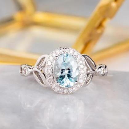 Vintage Aquamarine Engagement Ring, Oval 6x8mm Gemstone Wedding Ring