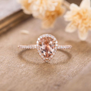 Halo Morganite 6x9mm Pear Shaped Ring Pave Set Diamond Bridal Wedding Ring