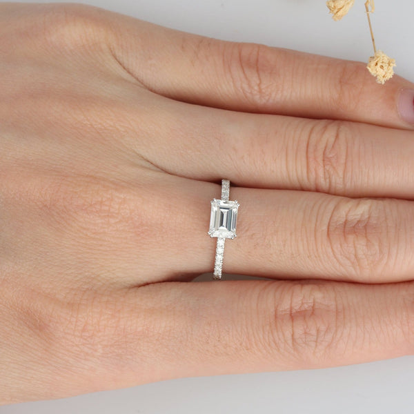 Emerald Cut 5x7mm Moissanite Pave Set Accents Engagement Ring