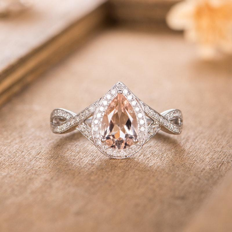 Pear Shaped 6x9mm Morganite Engagement Ring Halo Diamond Infinity Cross Band Ring