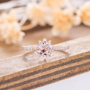 Morganite Engagement Ring Rose Gold Round Cut 6mm Unique Halo Wedding Ring