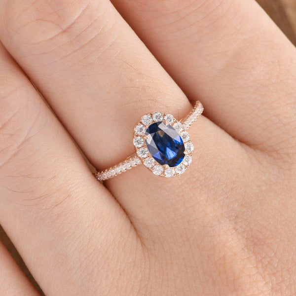 Oval Cut 5x7mm Lab Sapphire Engagement Ring Halo Birthstone Wedding Ring