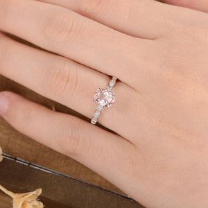 Oval Cut 6x8mm Morganite Engagement Ring Art Deco Diamond Marquise Ring