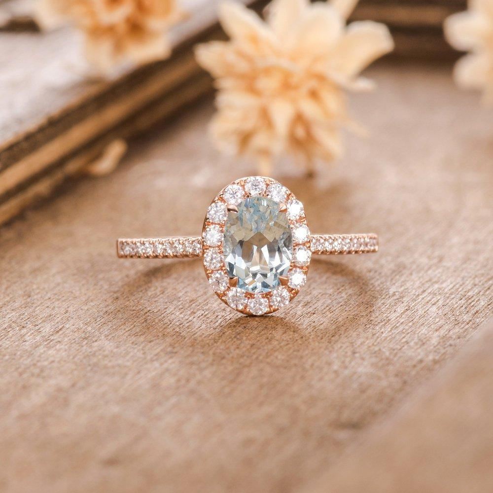 Oval Cut 5x7mm Aquamarine Engagement Ring Halo Diamond Half Eternity Wedding Ring