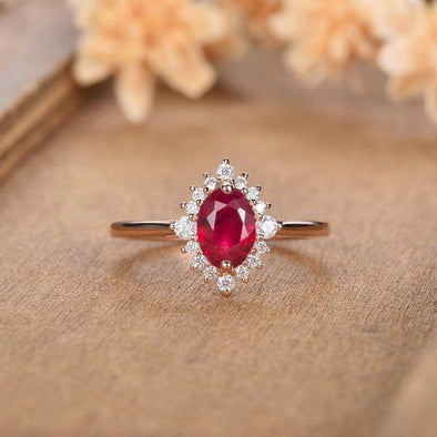 Lab Creatd Ruby Engagement Ring Oval Cut Halo Eternity Bridal Wedding Promise Ring