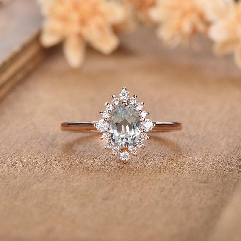 Rose Gold 1CT Oval Cut Aquamarine Engagement Ring Halo Eternity Dianna Wedding Ring