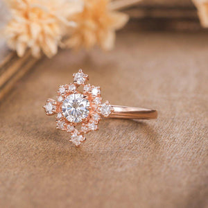 Rose Gold Moissanite Engagement Ring, Cluster Diamond Wedding Ring