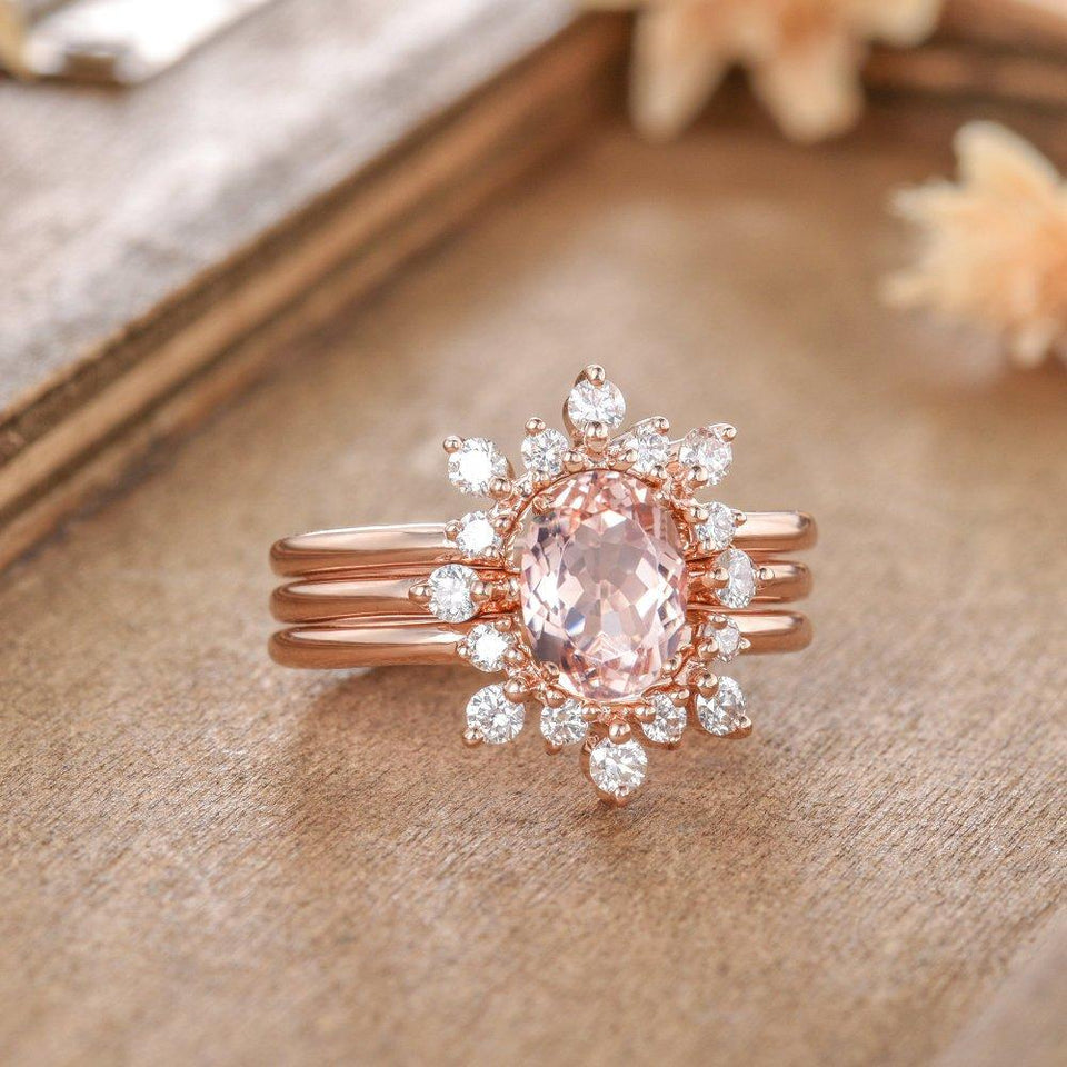 1.0CT Oval Cut Morganite Wedding Bridal Sets, Three Shanks Floral Diamond Ring