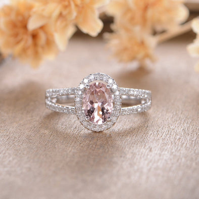 Morganite Engagement Ring Oval Cut 5x7mm Halo Diamond Split Shank Ring