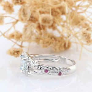 Princess Cut 5.5mm Natural Aquamarine Engagement Ring, Ruby Accents Split Shank Ring