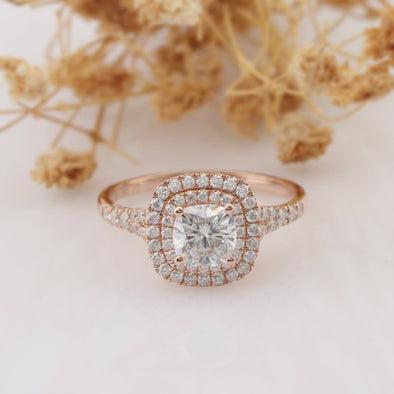 Cushion Cut 6mm Moissanite Double Halo Rose Gold Engagement Ring