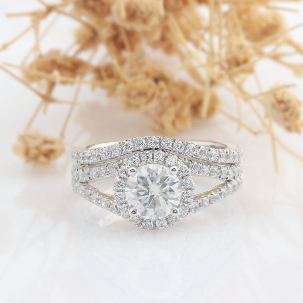 Round Cut 1CT Moissanite Ring, Halo Vintage Pave Set Wedding, Bridal Set