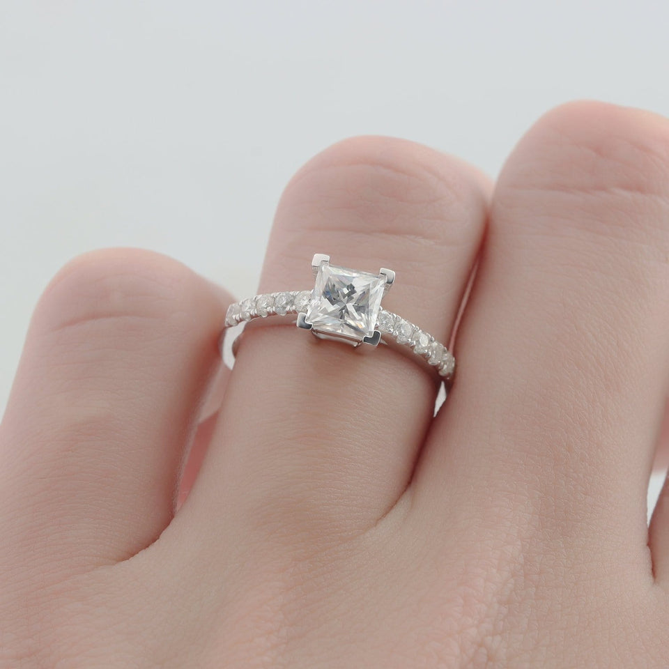 Princess Cut Moissanite Ring, Square 1.1CT Pave Set Accents Wedding Ring