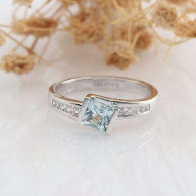 Square 5mm Natural Aquamarine Bezel Set Engagement Ring, Square Accents Promise Ring
