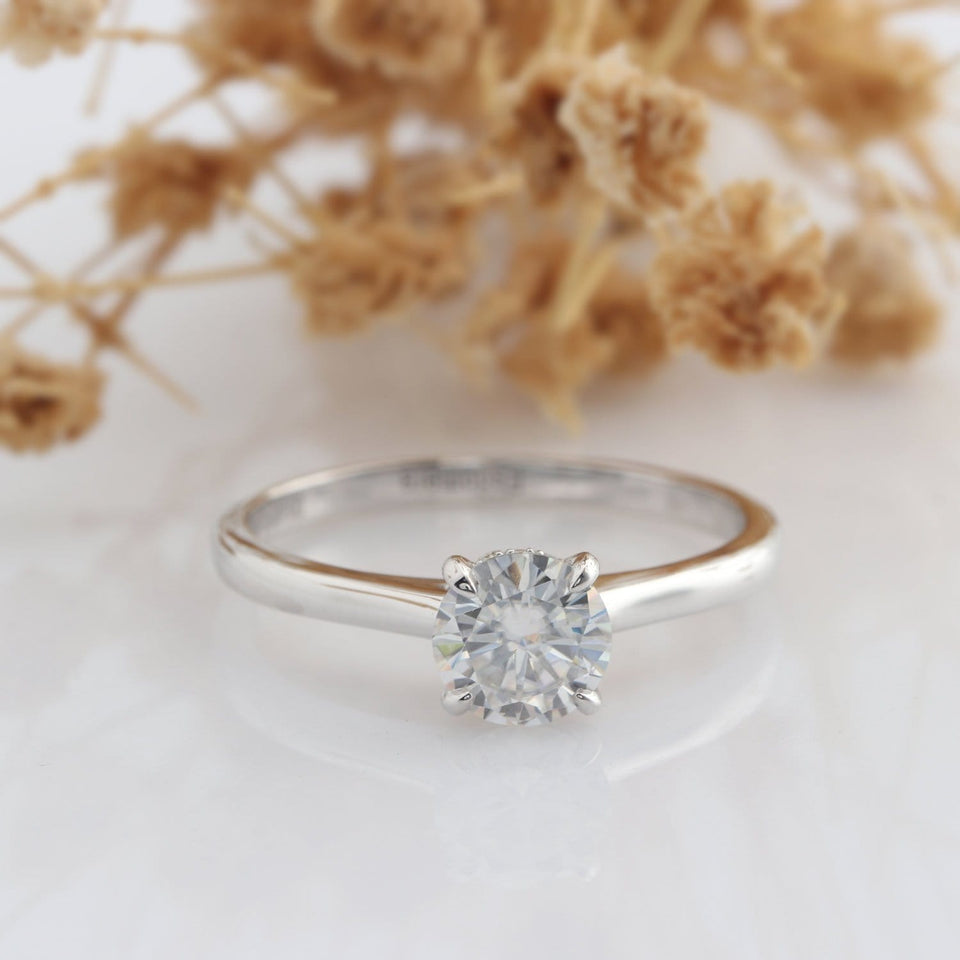 Solitaire Round Cut 1CT Moissanite Engagement Ring, Accents 4 Prongs Wedding Ring