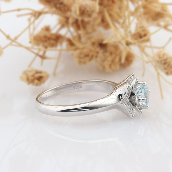 Lotus Design 5mm Natural Aquamarine 925 Sterling Silver Gemstone Engagement Ring