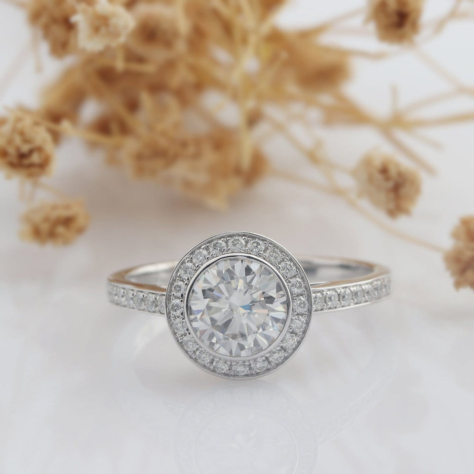 Vintage Round Cut 2CT Moissanite Engagement Ring, Art Deco Pave Accents Ring