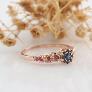 Natural Blue Sapphire Ring, Ruby Gemstone Ring, Vintage Filigree Ring