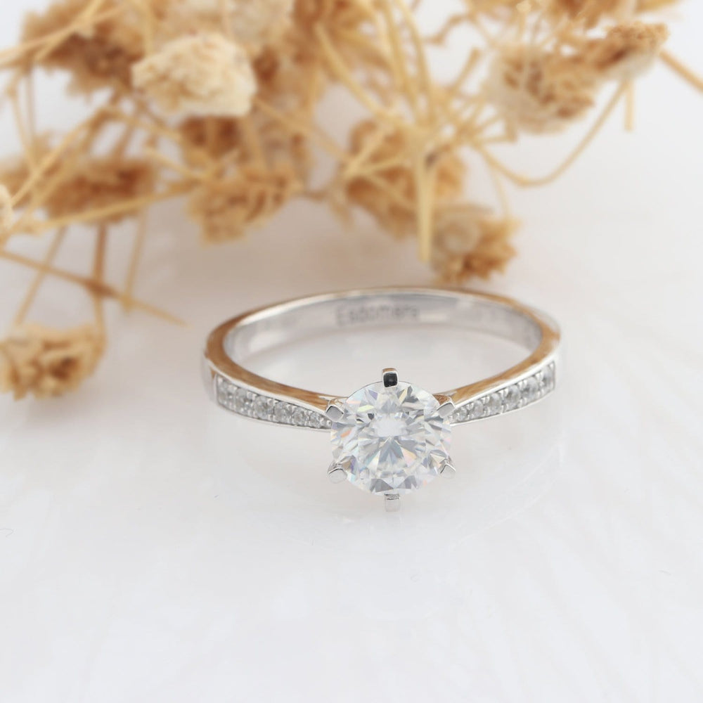Round Cut 1CT Moissanite Ring, Classic 6 Prong Set Pave Accents Engagement Ring