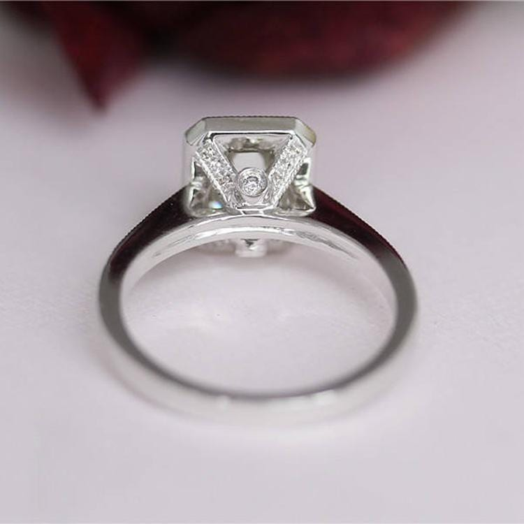 925 Sterling Silver - Emerald Cut 6x8mm Halo Channel Set Ring