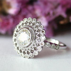 925 Sterling Silver - Antique Vintage Halo 6.5mm Moissanite Engagement Ring