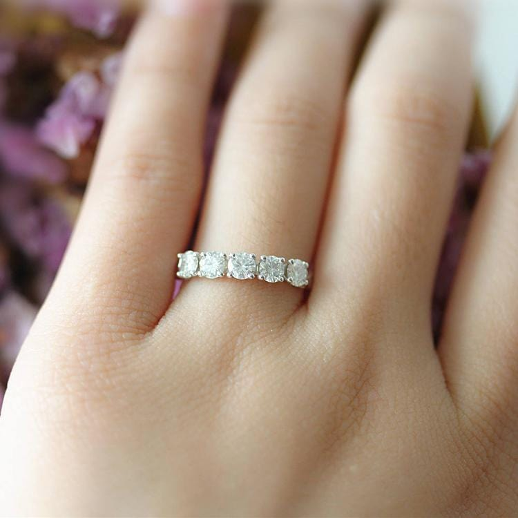 0.8ctw Round Moissanite Wedding Band, 5 Stone Prong Set Promise Ring