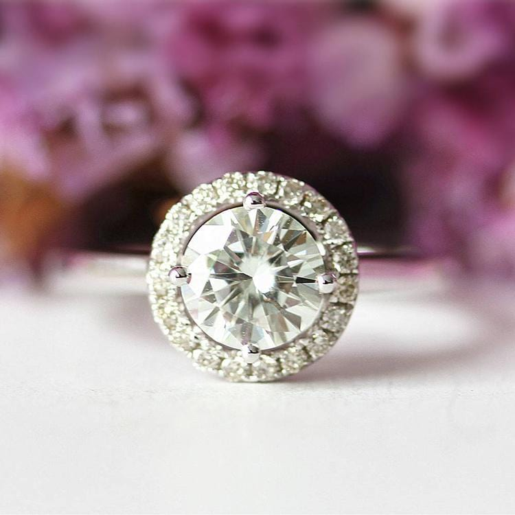 925 Sterling Silver - Art Deco Halo 6.5mm Moissanite Engagement Ring