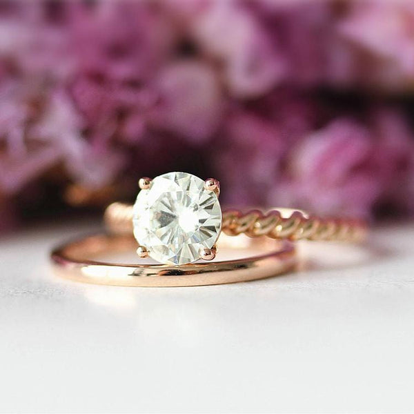 925 Sterling Silver - Round 1CT Rope Solitaire Moissanite Bridal Set