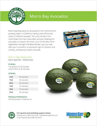 Shanley Farms Morro Bay Avocados Specs Sheet