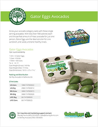 Shanley Farms Gator Eggs Avocados Specs Sheet