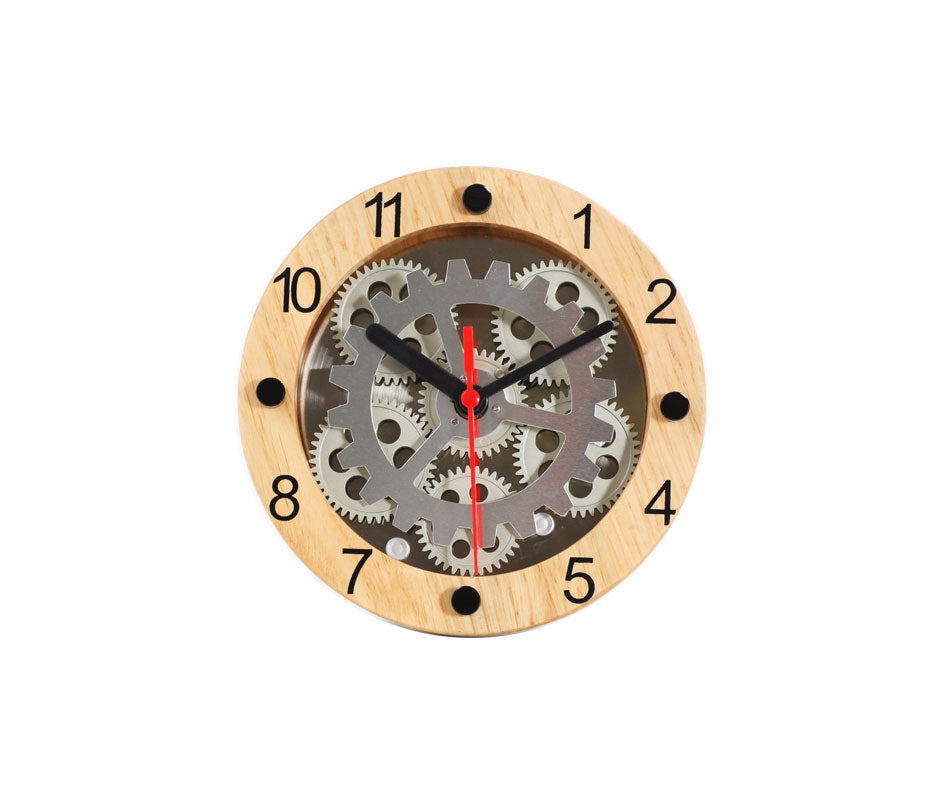 Maple's 6-Inch Dual Use  Table/Wall Moving Gear Clock  Wooden Ring Dial