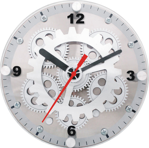 Maple's 6-Inch Dual Use  Table/Wall Moving Gear Clock  Glass Cover