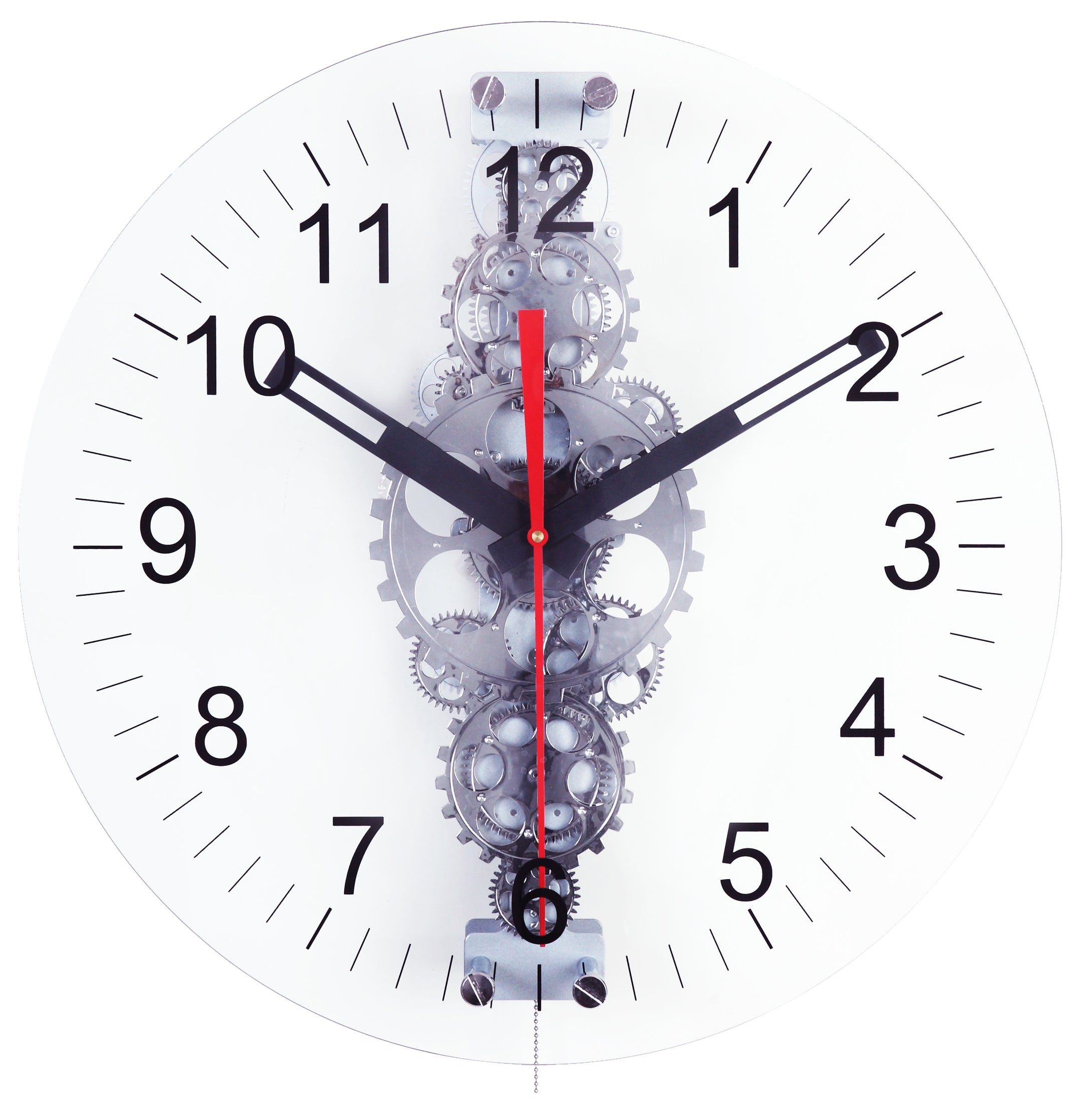 Maple's 24-Inch Large Moving  Gear Wall Clock, Glass Lens