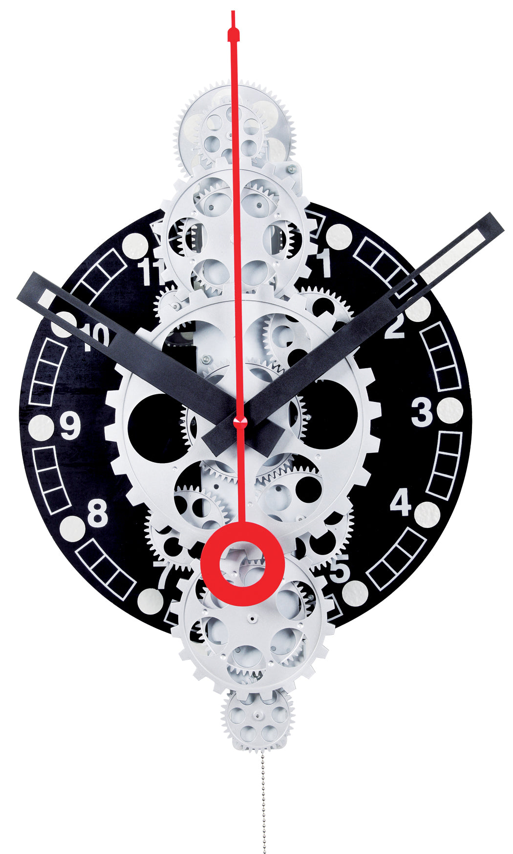 Maple's Large Moving Gear Wall Clock, Black Plexiglass Dial